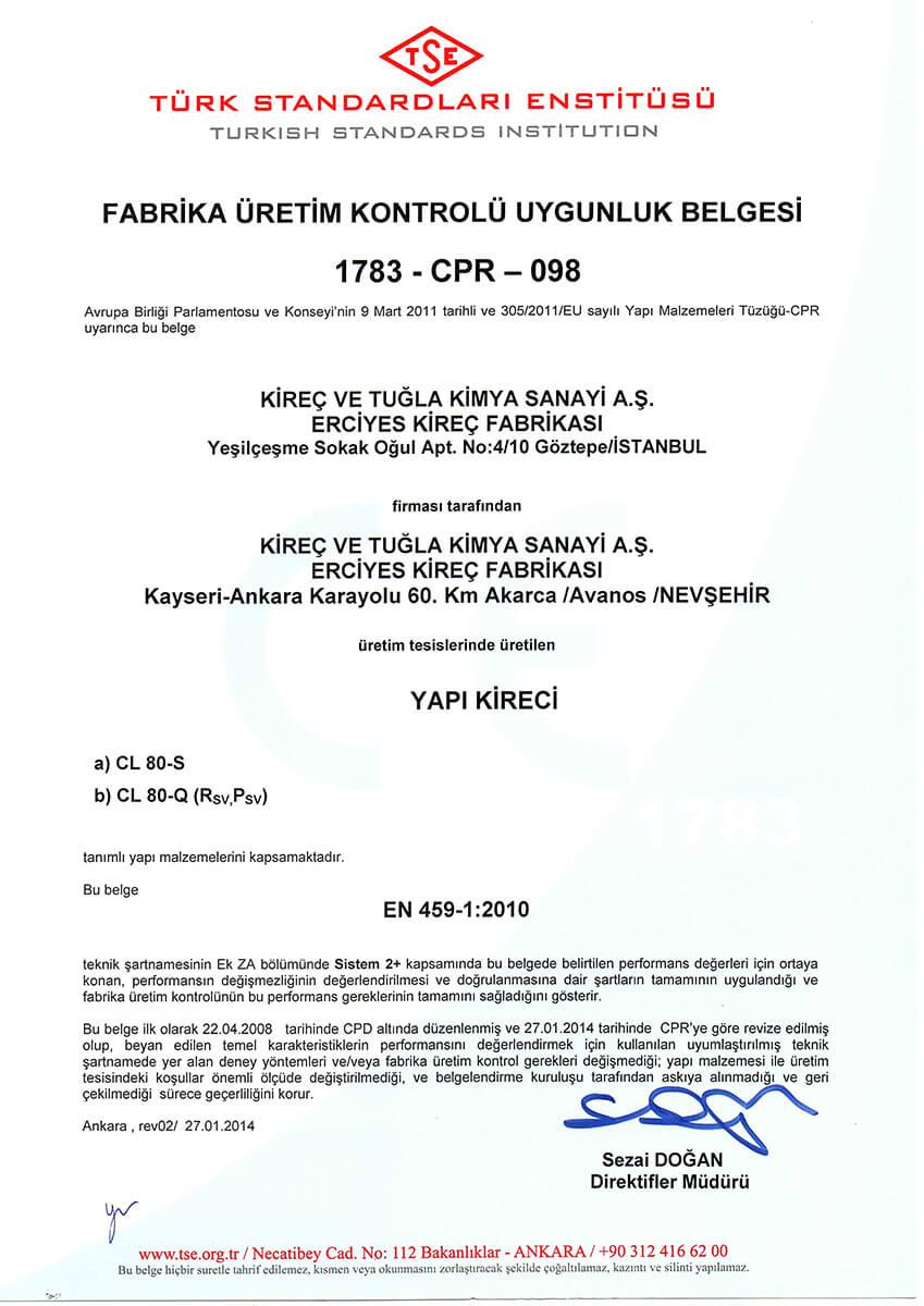 TSE EN 459-1:2010